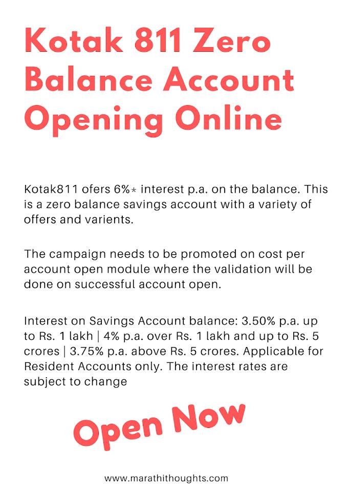 Kotak 811 Zero Balance Account Opening Online