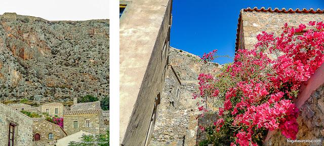 Casas típicas da vila de Monemvasia, Grécia