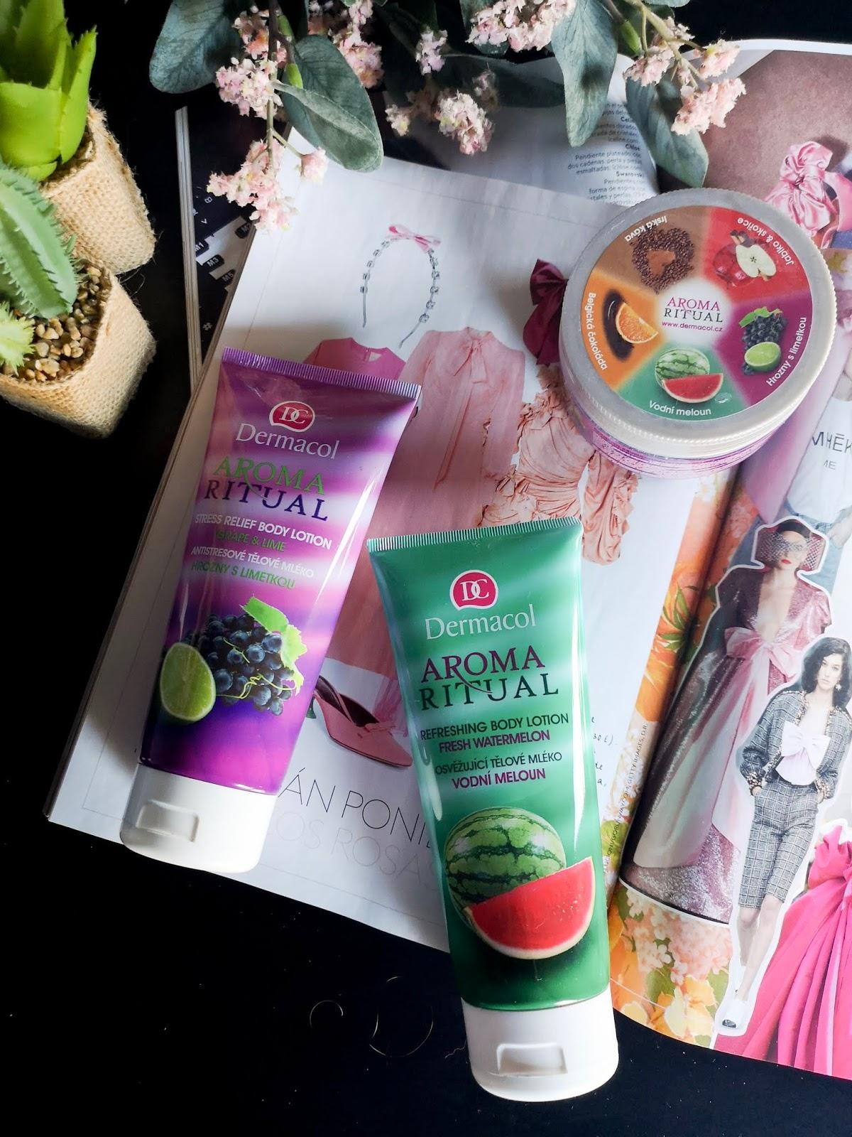 Cremas hidratantes y exfoliante corporal Aroma Ritual de Dermacol