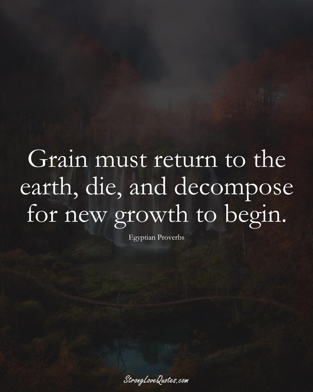 Grain must return to the earth, die, and decompose for new growth to begin. (Egyptian Sayings);  #MiddleEasternSayings