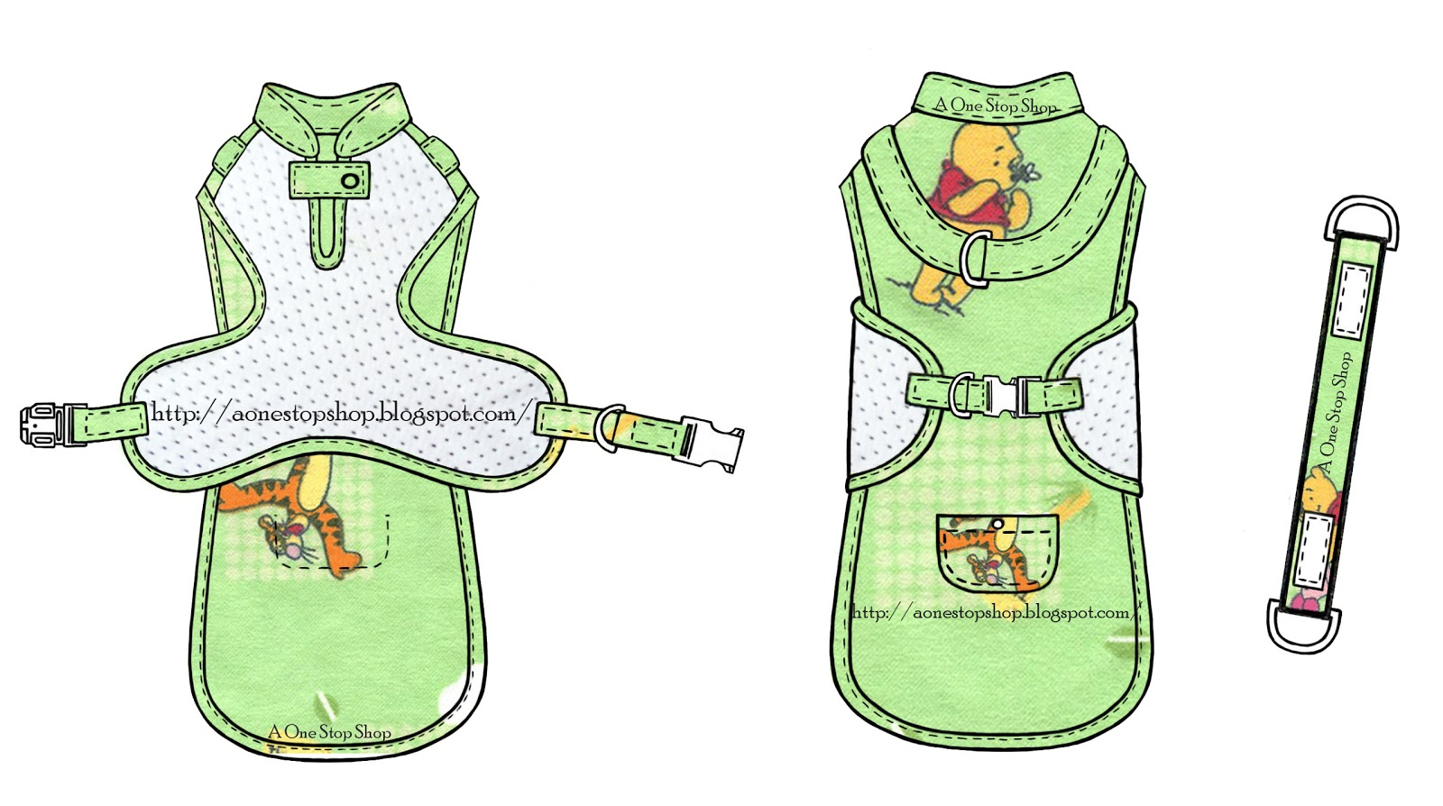 Harness Top In Winnie The Pooh Fabric on Fabric Dog Harness Pattern