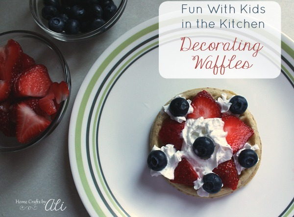kids fun in the kitchen decorating waffles
