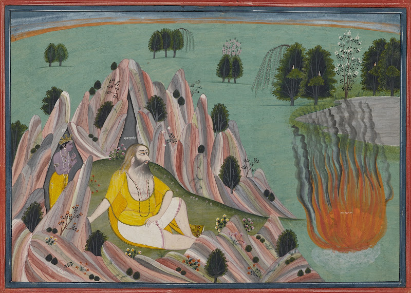 Krishna Lures King Kalayavana to the Cave of Muchukunda where he is Burnt to Ashes, Illustration from a Bhagavata Purana series Kangra, Circa 1820–30
