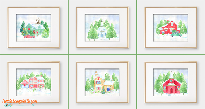 Watercolor Christmas House Printables