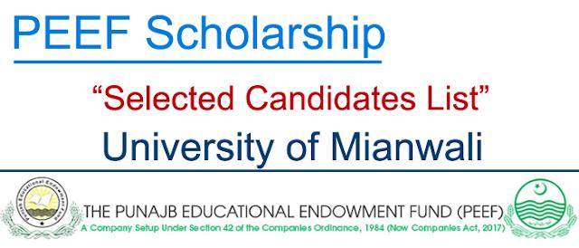 PEEF Scholarship Selected Candidates List | University of Mianwali