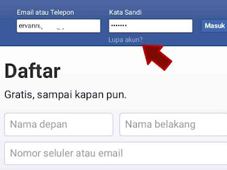 Lupa password facebook