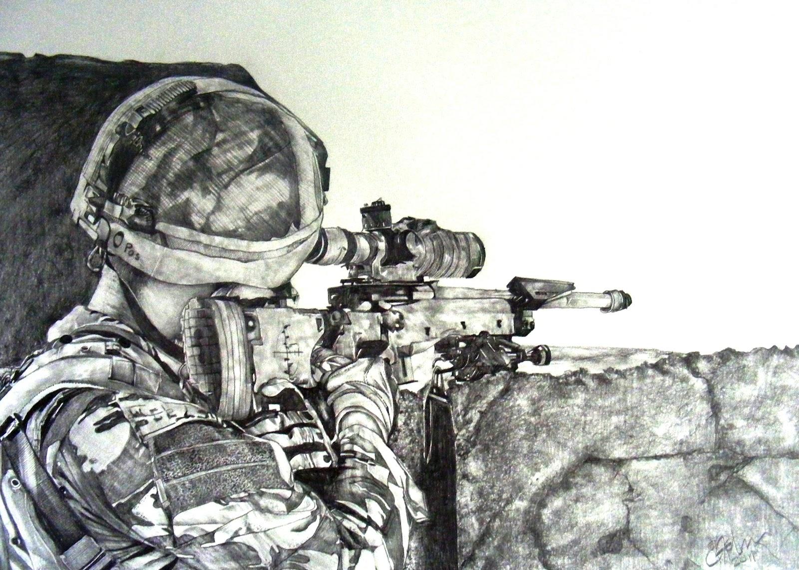 вкус военные рисунки снайпер лесу