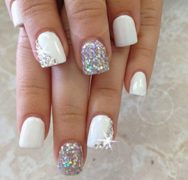 Simple Acrylic Nail Designs With Rhinestones