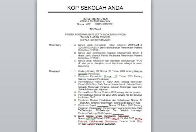 Contoh SK Pembentukan Panitia PPDB SD, SMP dan SMA Tahun Pelajaran 2021-2022