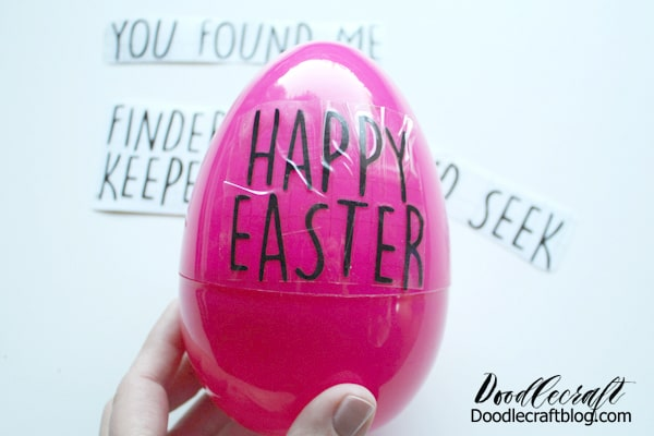 Dress up plastic easter eggs with black vinyl in a fun Rae dunn copycat font.