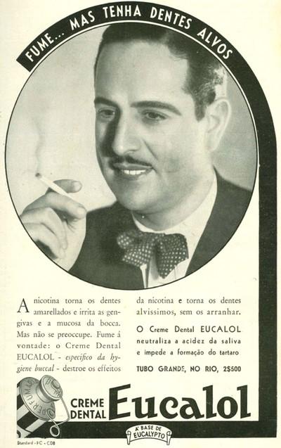 Propaganda antiga da década de 30 promovendo o creme dental Eucalol