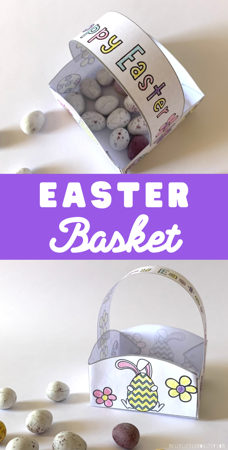 Printable Easter basket template to make an easy Easter craft for kids.