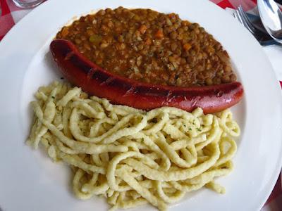 Stuttgart Blackforest Boutique S-Café, spatzle sausage lentils