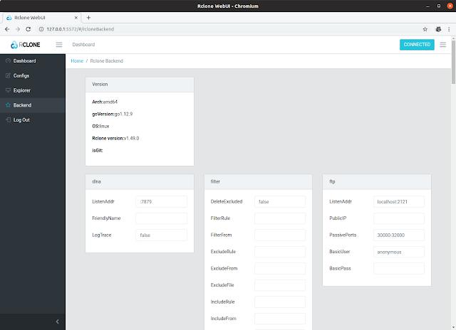Rclone web UI Backend