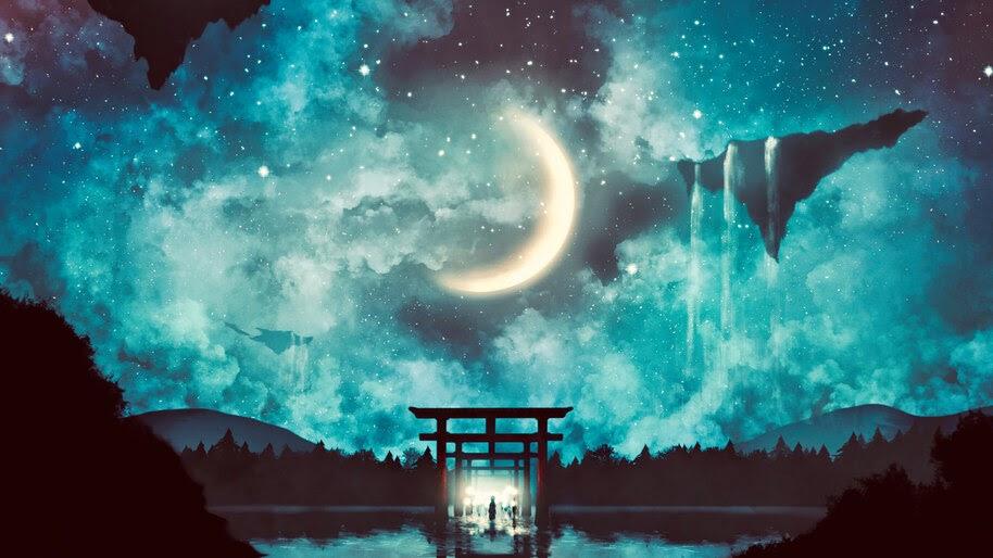 Shrine Gate, Night, Sky, Anime, Scenery, 4K, #6.2588