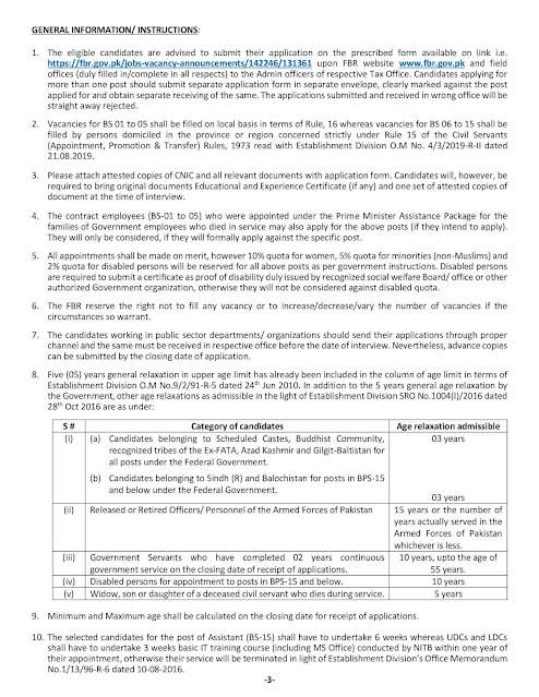 FBR Jobs 2021 Online Registration