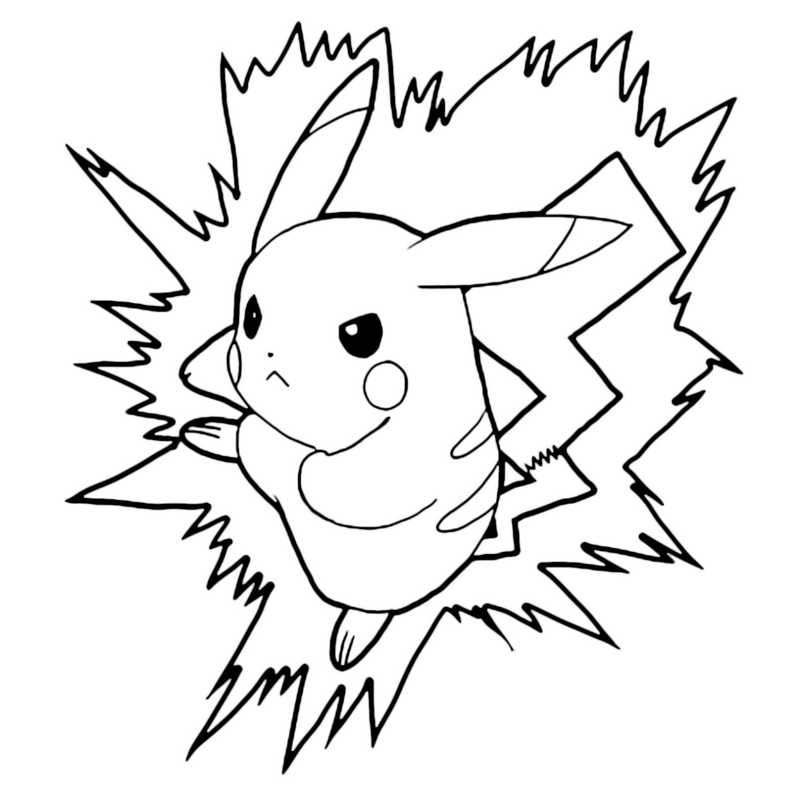 easy angry pokemon pikachu lightning bolt attack coloring pages for grown ups free