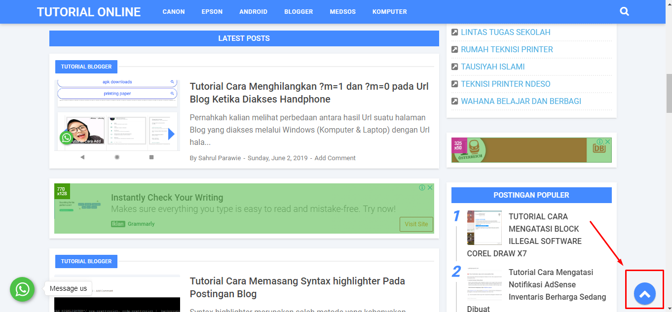 Navigasi Tombol Back to Top Blog