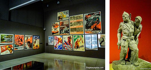 Acervo sobre a Guerra Civil Espanhola no Museu Nacional de História da Cataluna, em Barcelona