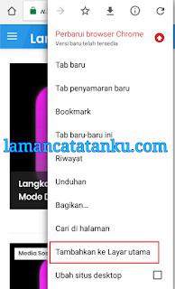 tambahkan ke layar utama untuk menjadikan halaman web seperti aplikasi