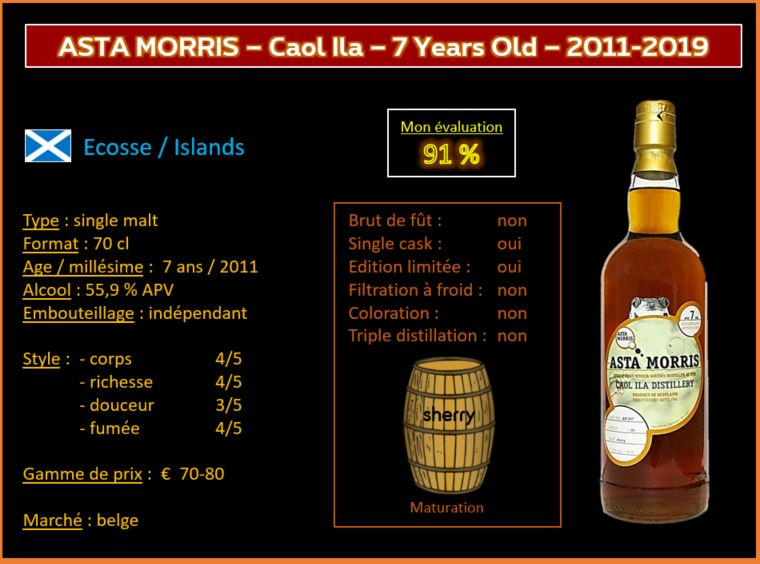 Review #616  : Asta Morris – Caol Ila 7 Years Old – 2011-2019