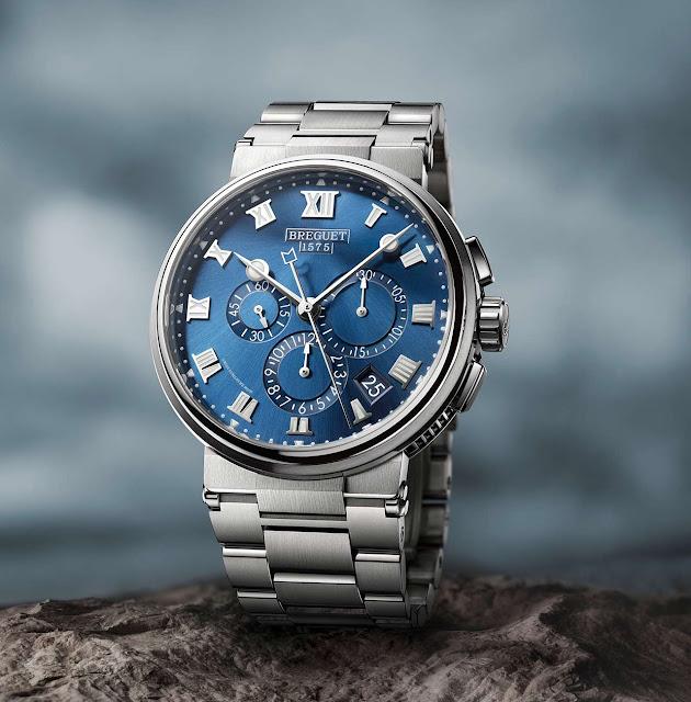 Breguet Marine Chronographe 5527 in titanium and blue dial
