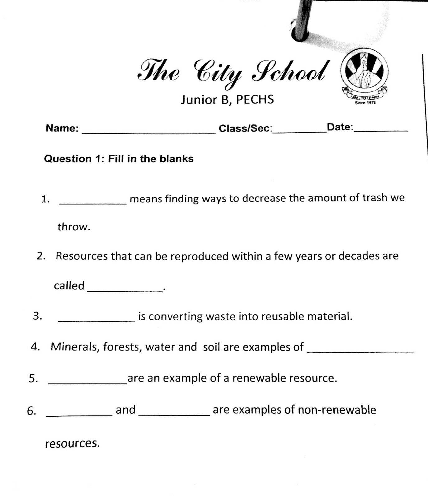 The City School Grade 4 Social Stu S Revision Worksheet