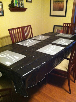 "My vinyl ""trash bag"" tablecloth"