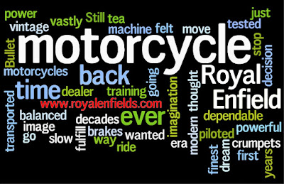 Word cloud of subjects that often come up on Royal Enfield forums.