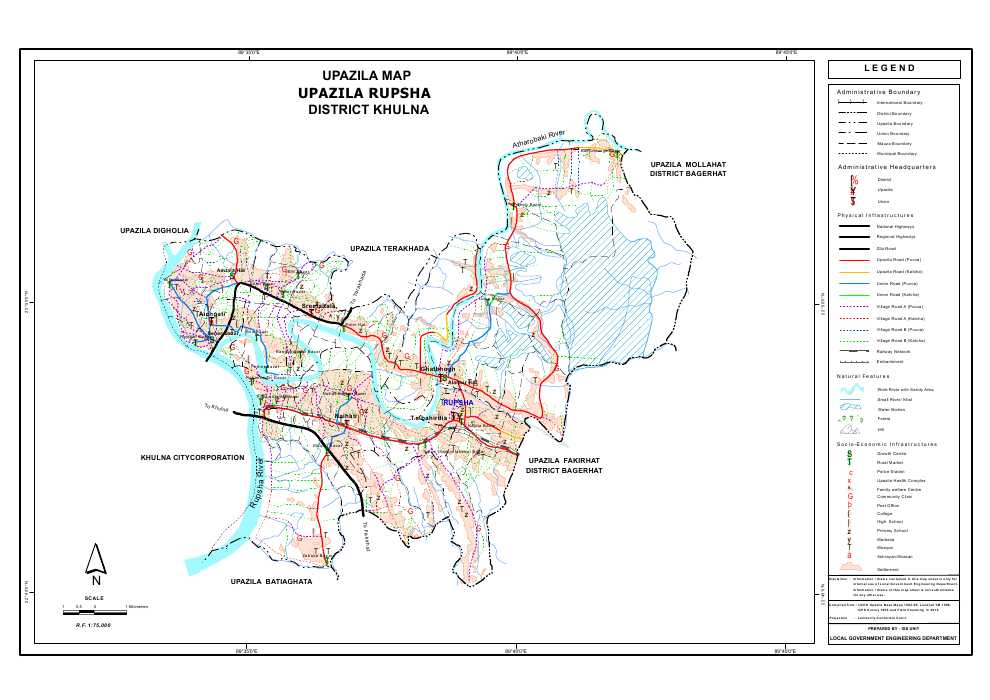 Rupsa Upazila Map Khulna District Bangladesh