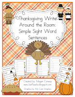 Thanksgiving Write Around the Room: Simple Sight Word Sentences, www.JustTeachy.blogspot.com