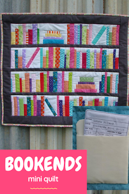 The Bookends mini quilt is perfect for using up fabric scraps! The beginner pattern comes with directions to make the library card and pocket label too!