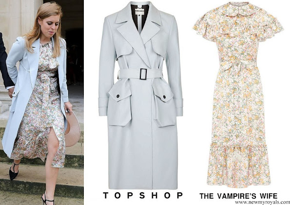 Princess Beatrice wore TOPSHOP Neoprene Belted Trench Coat and The Vampire's Wife LA dress