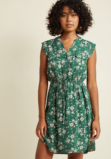 A Way With Woods Sleeveless Shirt Dress in Fern