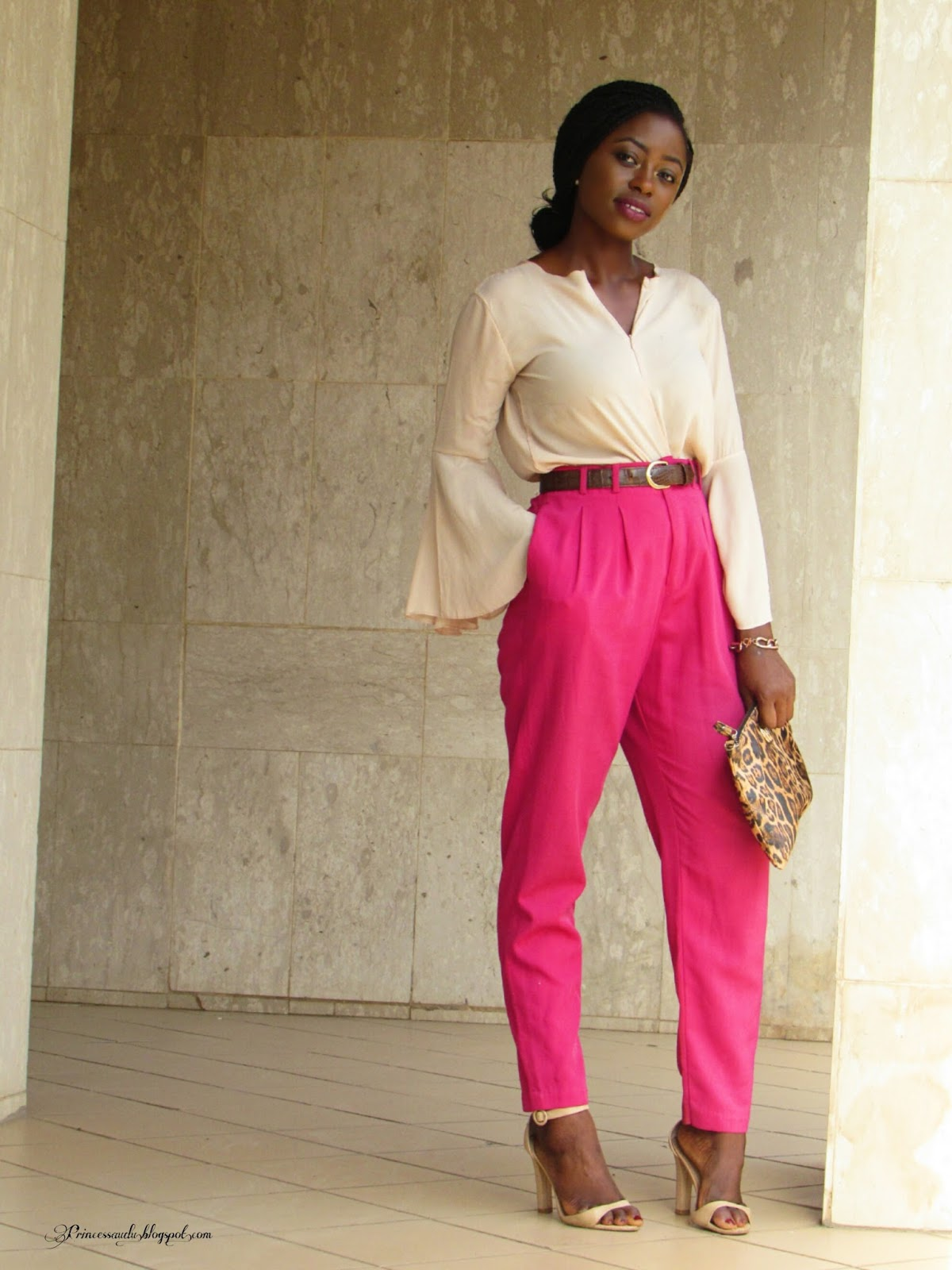 flared sleeve, bell sleeve, blush, pink, leopard print, pink highwaist trousers