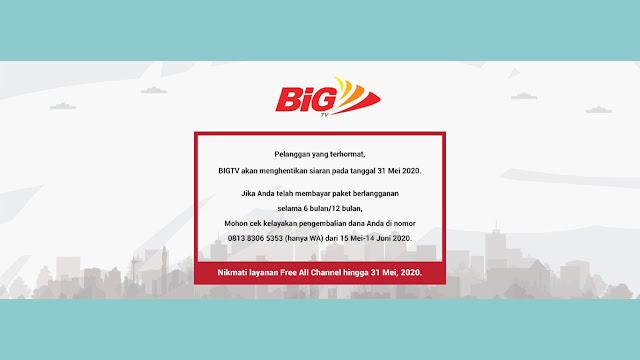 BiG TV menghentikan siaran di satelit JCSAT 4B