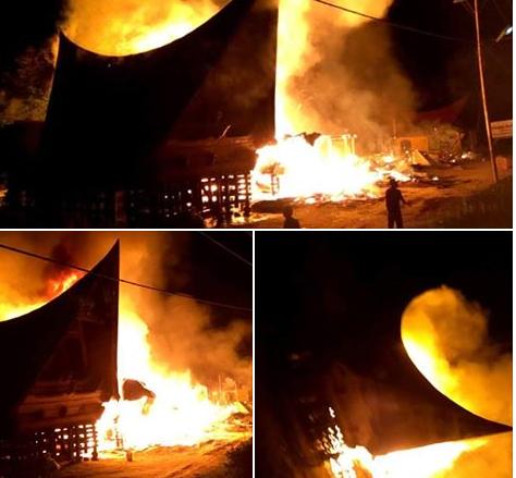 3 Rumah Adat Batak dan 2 Rumah Semi Permanen Terbakar di Desa Hutabolon, Parbaba, Kamis dinihari, (9/2)