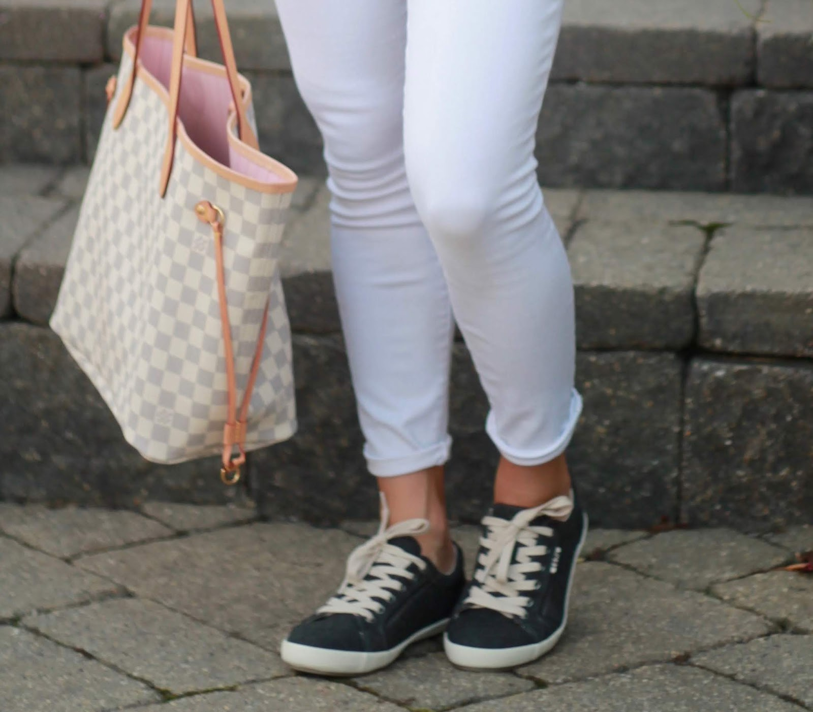 Taos star sneakers, white denim, camo tee, grey cardigan, LV azure neverfull