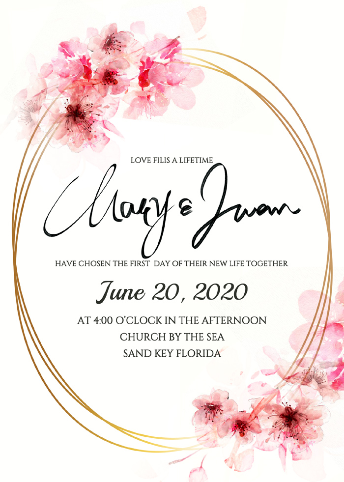 Luxury High Oval Golden Frame Cherry Blossom Element Wedding Invitation