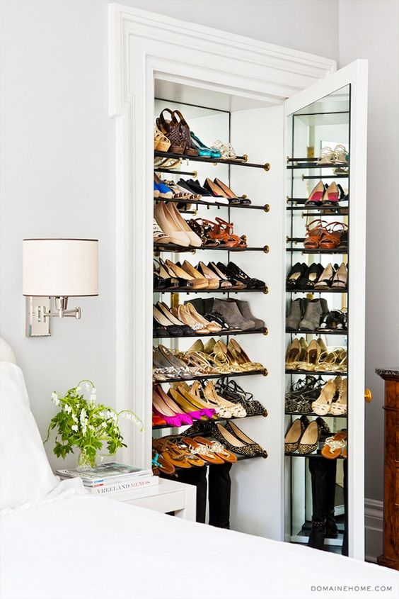 ... That Many Shoes Pick A Closet With A Big Mirror. In This Way The Space  Will Seem Bigger And Your Shoes Will Double Their Number, Nice Illusion,  Right?
