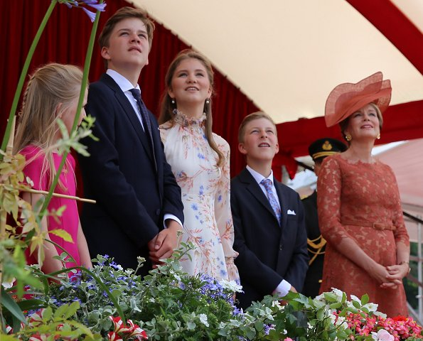 Crown Princess Elisabeth wore Erdem dress. King Philippe, Queen Mathilde, Princess Eleonore, Prince Gabriel and Prince Emmanuel. Natan