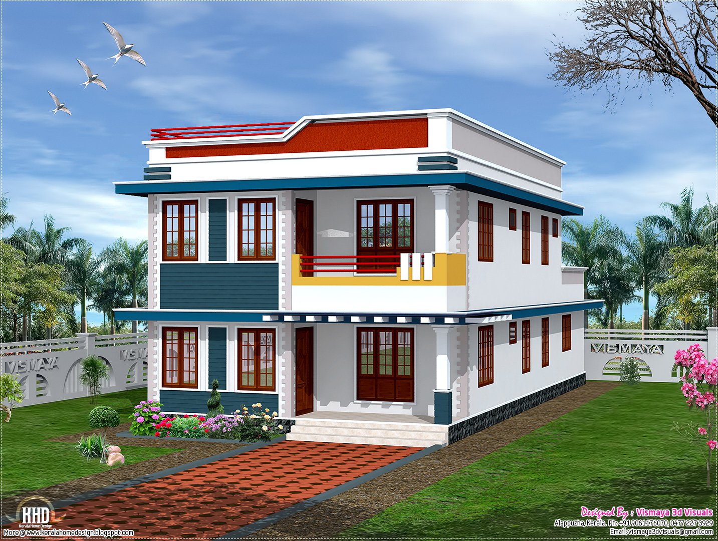 2325 sq feet flat roof house elevation Kerala home