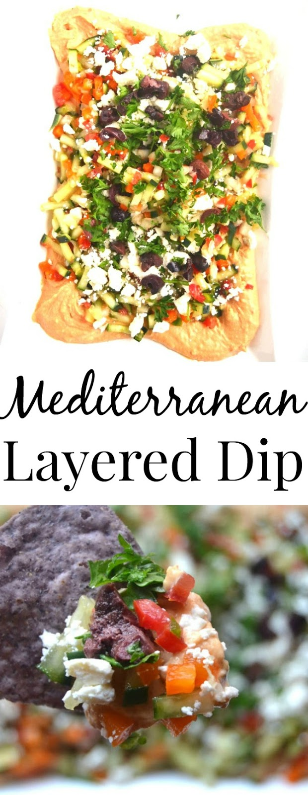 This Mediterranean layered dip features hummus, feta, olives and is loaded with diced vegetables. A quick and flavorful appetizer that no one will know only took you 10 minutes to make! www.nutritionistreviews.com