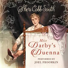 Miss Darby's Duenna audiobook cover. A young man with blond curls sits on the edge of a bed slipping a pink slipper onto his foot.