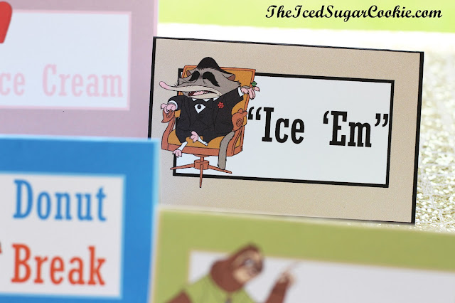 Make Your Own DIY Zootopia Food Label Cards And Hanging Flag Banner by The Iced Sugar Cookie-Mole Mr Big, Nick Fox, Judy Bunny, Flash Sloth, Elephant Jerry