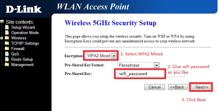 configuration du mode wifi
