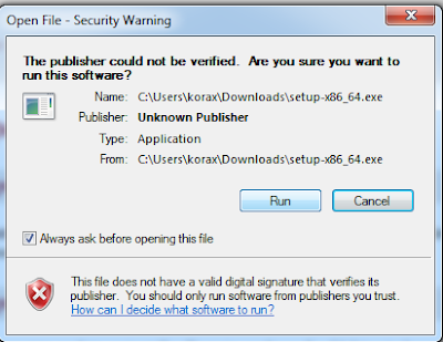 Warning windows message for unknown publisher