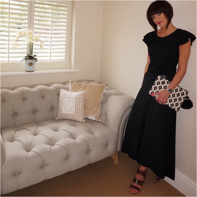 My Midlife Fashion, marks and spencer super cropped wide leg trousers, french collection frilled sleeve top, embroidered clutch, topshop venus stud sandals