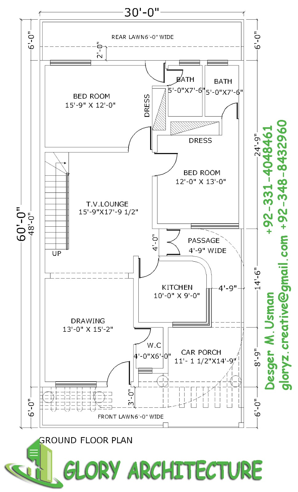 Ground Floor Elevation View : House plan elevation d view drawings pakistan