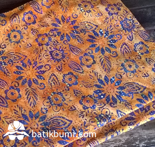 Kain BATIK CAP Smoke motif Krisan Orange